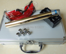 Discount! Full Brass Housing 10000mw 10W Focusable 450nm Burning Match/Paper/Dry Wood/Candle/Black+Glasses+Charger+Box