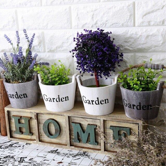 Livraison Gratuite Vintage Ronde En Bois Jardin Fleur Pot