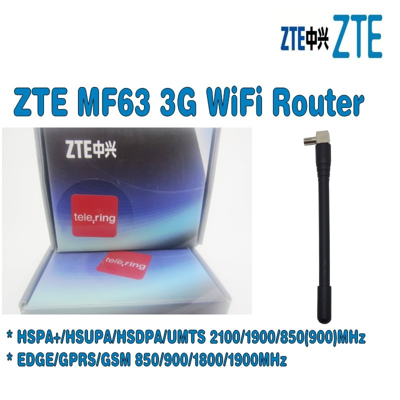 Unlocked ZTE MF63 3g wireless router hspa mobile hotspot plus with 3g antenna