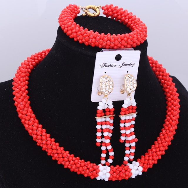 African Jewelry Set For Women Dudo Red & White Handmade Jewelry Set One Layer Crystal Beads Jewelry Set Free Shipping 2018 New