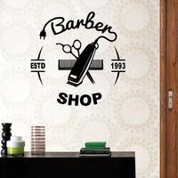 Man Barber Shop Sticker Name Chop Bread Decal Haircut Hair Clipper Shavers Poster Vinyl Wall Art