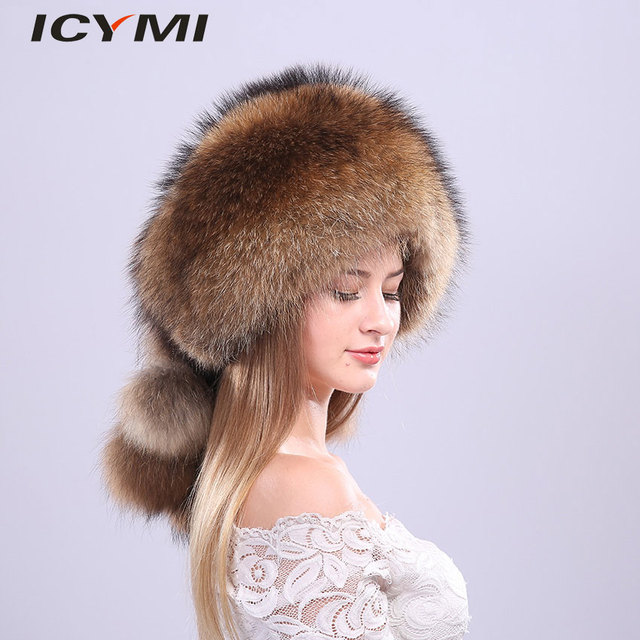 7b80419797e ICYMI Whole Piece Raccoon Fur Hats Unisex Super Warm Russian Outdoor PomPom  Caps Skiing Snow Real