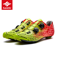 Santic Cycling Shoes Road Men Breathable Self-Locking Bicycle Shoes Carbon Fiber Ultralight Pro Bike Shoes Sapatilha Ciclismo