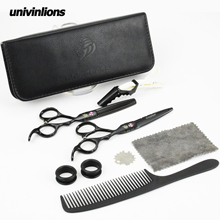 440C Univin 5.5 HRC60 Brand Hair Scissor Set With Bag Cloth Comb Clip Cut Razor Shear and Thinning