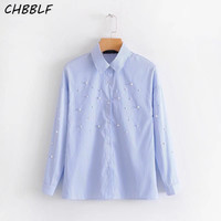 Women Elegant Pearls Beading Striped Shirts Long Sleeve Turn Down Collar Blouse Casual Chic Tops Blusas