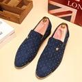 ZDRD 2017 Nueva Plata del Oro de Los Hombres Holgazanes Zapatos de Marca de Lujo Tachonado de moda Calzado Plano Masculinos Oxfords Zapatos de Charol para hombres