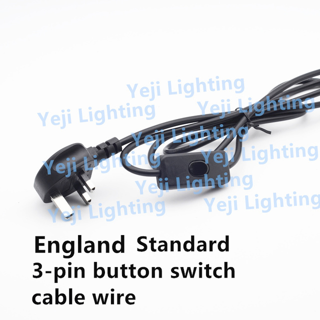 British Standard Uk 3 Pin Plug With On Switch Cable Wire