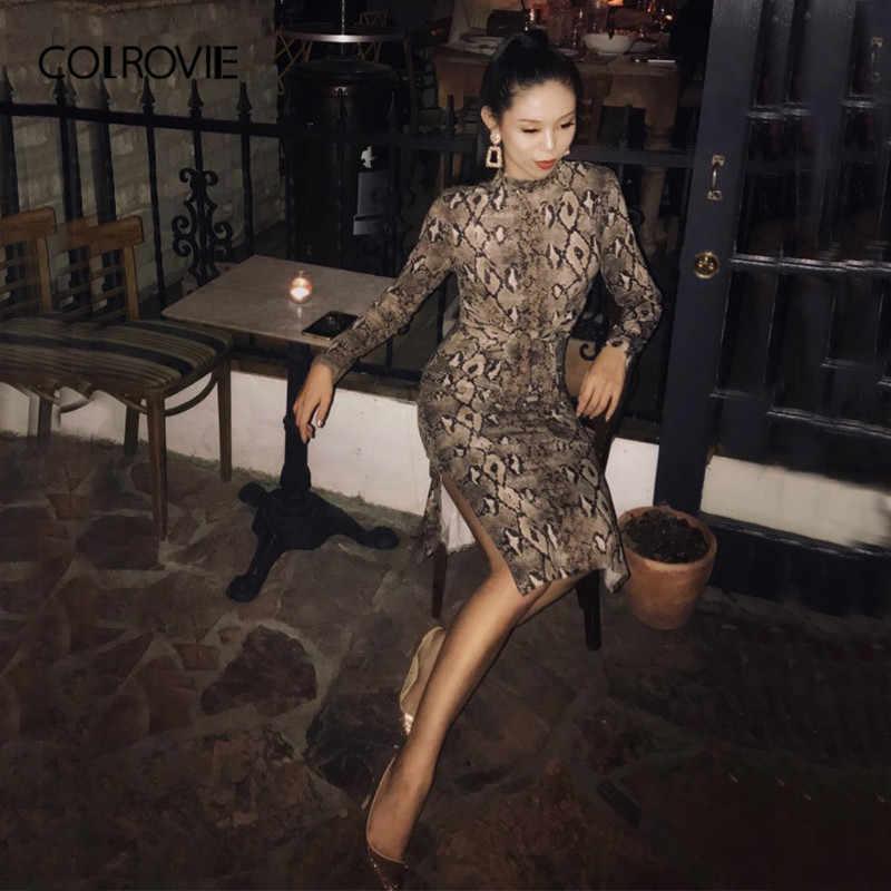 Colrovie mock neck snake print dividir manga longa sexy vestido feminino outono streetwear vestido de festa bodycon vestidos casuais midi