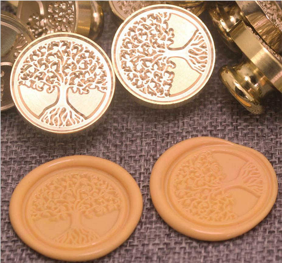Vintage Tree Of Life Custom Picture Logo Luxury Wax Seal Sealing Stamp Brass Peacock Metal Handle Gift Set atom science vintage custom picture logo luxury wax seal sealing stamp brass peacock metal handle gift set