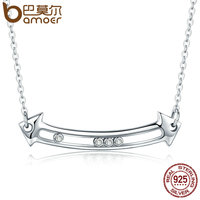 BAMOER 100 Genuine 925 Sterling Silver Sliding Love In Arrow Pendant Necklaces For Women Necklace Jewelry