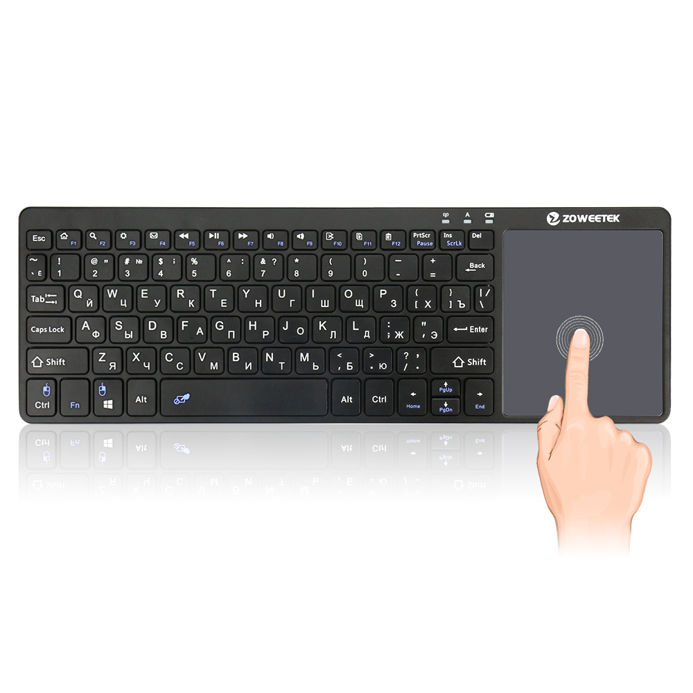 Genuine Zoweetek K12-1 2.4G Russian Wireless Mini Keyboard with Touchpad Mouse for Phone Pad PC Smart Android TV Box IPTV HTPC