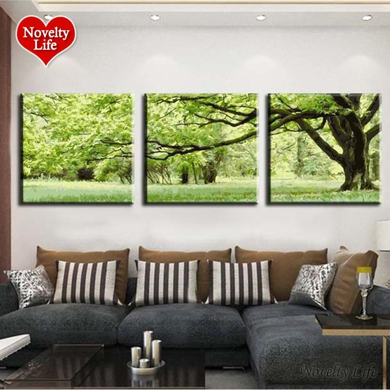 3 Pannelli Frameless Foto su Tela DIY Pittura A Olio Digitale dai Numeri Decorazione Della Casa Regalo Unico Vernice Artigianali Alberi Verdi