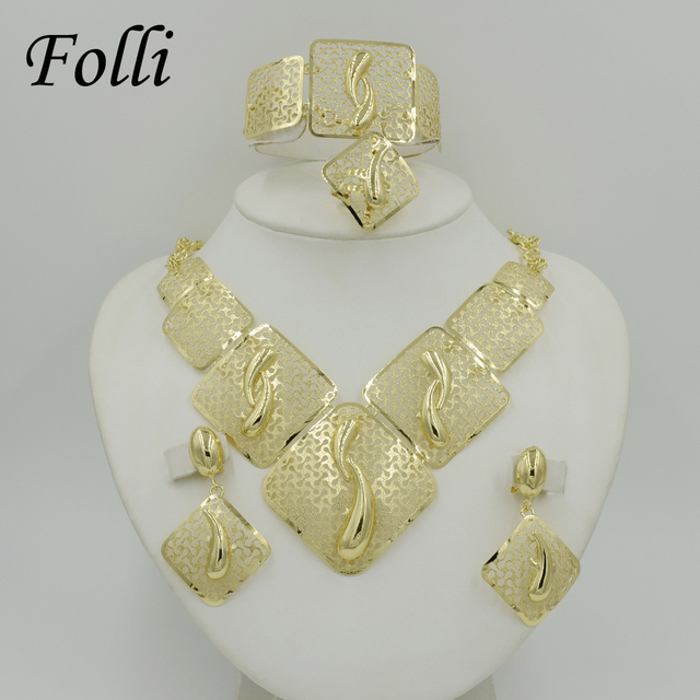 2017 New Fashion Big African Beads Jewelry Set Exquisite Carved Dubai Gold Plated Jewelry Set Nigerian Wedding Bridal  Bijoux
