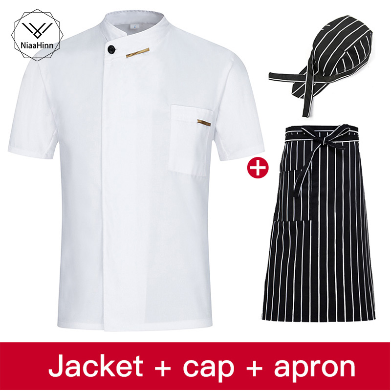 Chef Jacket Cook Coat Restaurant Kitchen Chef Uniform Short Sleeve Chef Clothes Hotel Bakery Pastry Cafe Overalls+Apron+Hat