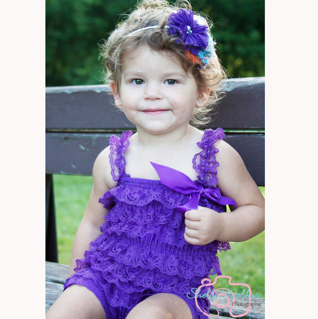 e67ebeb9ed9 Hot Baby Purple Lace Romper Infant Girls Petti Ruffled Vintage Romper  One-Piece with Strap Flower Headband Set Newborn Jumpsuit