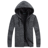 Winter Jacket Men Thick Velvet Cotton Hooded Fur Jacket Mens Padded Knitted Casual Sweater Cardigan Coat Autumn Outdoors Parka