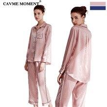 CAVME Summer Luxury Silk Pajama Sets Turn-down Collar Long Sleeve Pants Solid Color Navy Pink Elegant Homewear 2 Piece