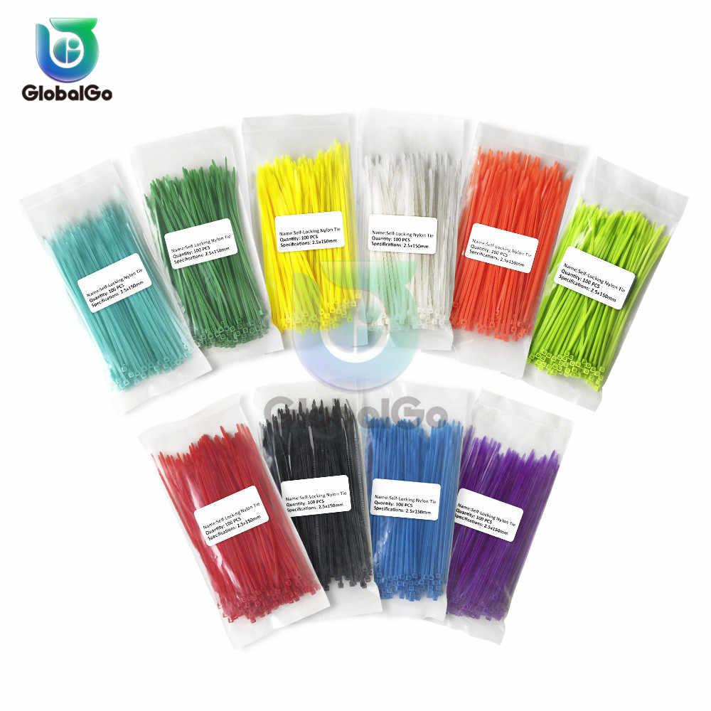 100 pcs/Lot 150mm auto-bloquant Nylon serres-câble 13 couleur plastique Zip cravate fil reliure Wrap sangles 2.5*150mm