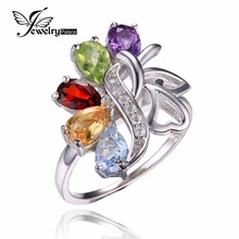 Feelcolor Model New 2.5ct Real Amethyst Garnet Peridot Topaz Pure Rock Quartz Stable 925 Sterling Silver Gem Stone Bijoux Ring