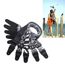 Electric Guitar Strap Embroidery Adjustable Leather Ends Black and White Style Music Instruments Accessories Straps