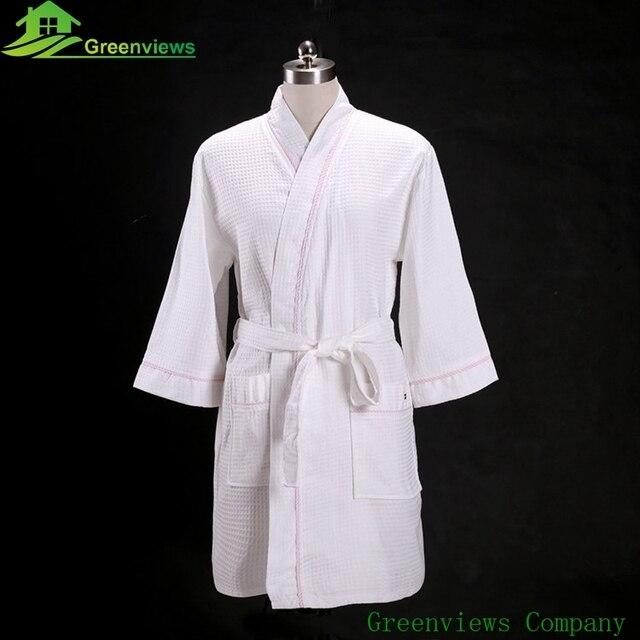 1pcs/lot Kimono style Waffle Bathrobe Dressing Gown Unisex Men ...