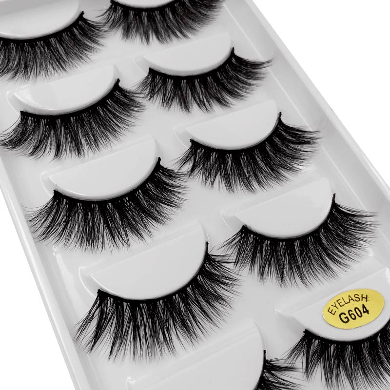 SHIDISHANGPIN 5pairs False Eyelashes Thick Mink Eyelashes 3d Mink Lashes Natural False Lashes Eyelash Extension Cilios Maquiagem