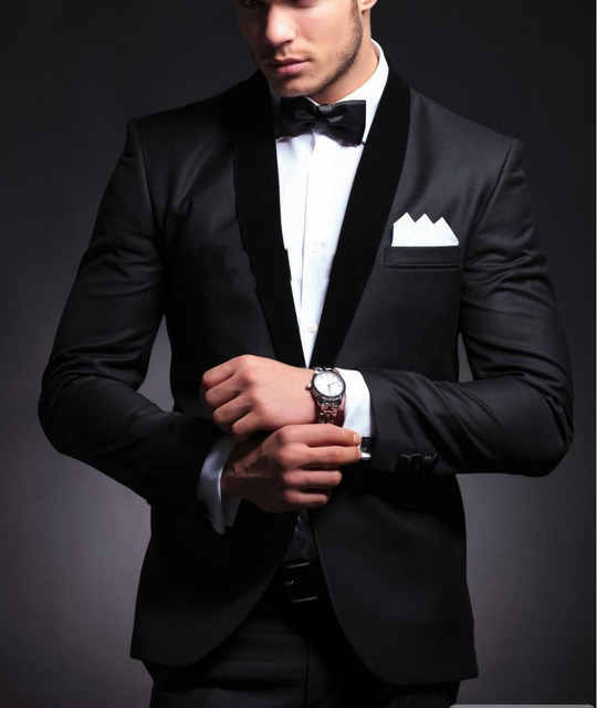 Elegant Groom S Wear Black Smoking Dinner Jacket Wedding Suits For Men Best Man 3