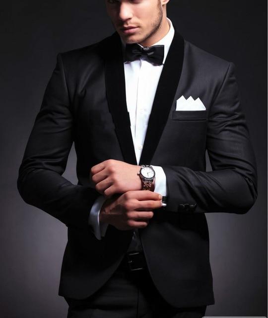 810b1ca446d0 Elegante desgaste del novio negro smoking cena chaqueta boda Trajes para  hombres mejor hombre