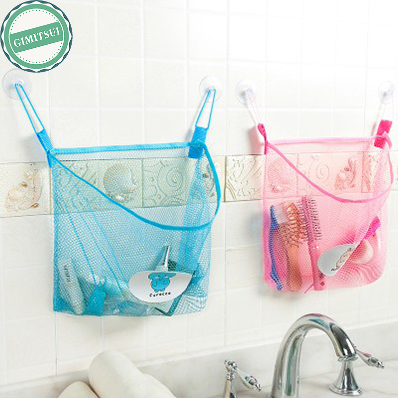 Home bathroom suction net bag bath baby kid storage for Bath storage net