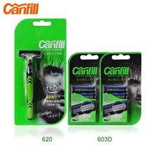 Titular de afeitar 1 + 7 unids cuchillas giratorias marca cabezas Canfill 2015 hombres de seguridad Manual maquinillas de afeitar para hombre máquina de afeitar KL-620 / KL-603D