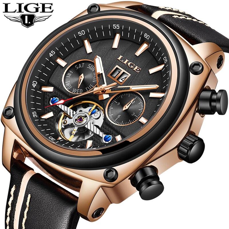 LIGE Men Watch Mechanical Tourbillon Luxury Fashion Brand Leather Man Sport Watches Mens Automatic Watch Male