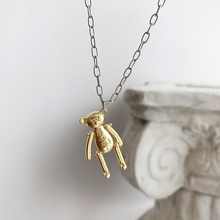 LouLeur 925 sterling silver miś zabawka naszyjnik złoty moda dziki zabawny projektant naszyjnik dla kobiet 2018 piękna biżuteria