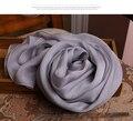 Зима длинный серый шарф качества женщины модной чистый 100% шелк шарфы осень и зима теплее оптовая продажа шарфы и шали