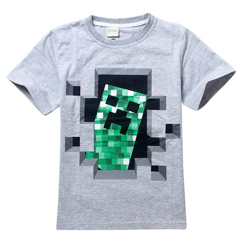 Minecraft Cartoon Print Boys Clothes 100%Cotton Short Sleeve T-shirt Baby Boy Top Summer Kids Tees Shirts Casual blouse Clothing cartoon car print newborn baby boy set blouse pant clothes infantil baby boys clothing outfit sport casual cloth for boys suit