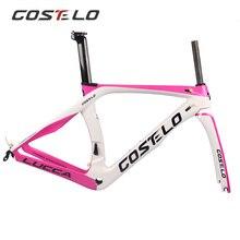 Costelo ROAD Велосипедное углеродное волокно дорожный велосипедная Рама с вилкой зажим подседельный углерода дорожный Велосипедный спорт рамки прямое Крепление тормоз