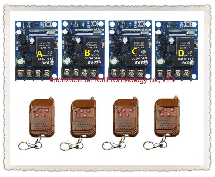 New DC12--48V 1CH 10A RFRF wireless remote control switch system 4transmitter and 4 receiver teleswitch For relay Learning Code ключ vorel 81117