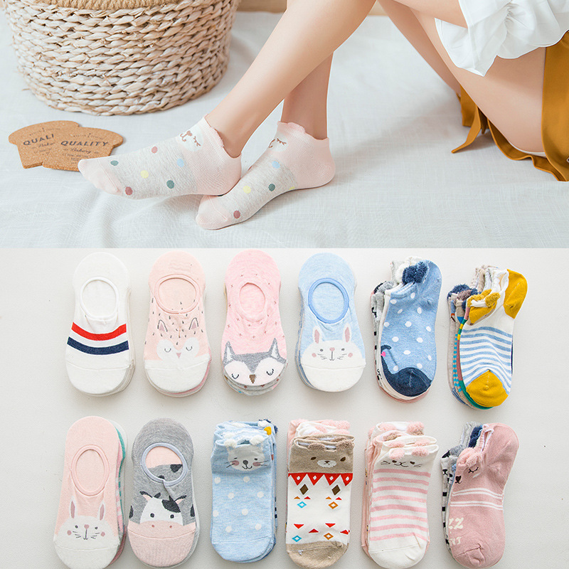 5pairs=10pieces Cartoon women   socks   cotton invisible   socks   Cute animal Stereo ear girl ankle   socks   harajuku breathable   socks