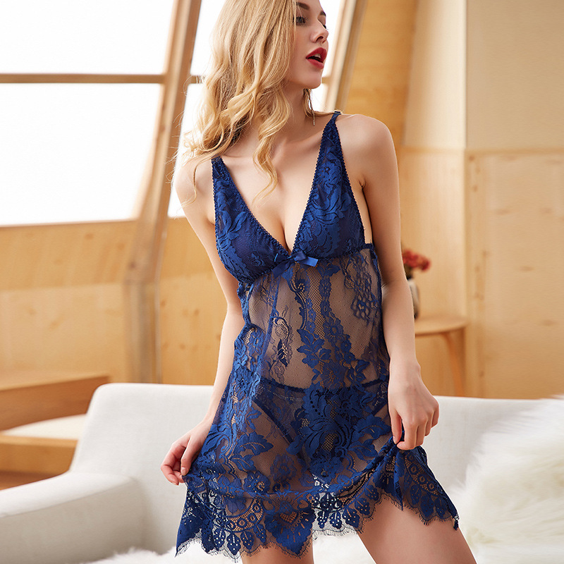 Sexy lace sexy lingerie cross perspective backless sexy strap nightdress suit home service nigthdress female(China)