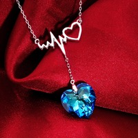 Tuliper 925 Sterling Silver Wave Heart Bridal Necklace Austrian Crystal Pendant Necklace Wedding Party Jewelry Valentine