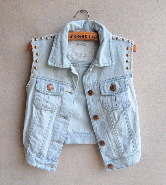 Free ship 2012 fashion CUTE casual turn-down collar special rivet sleeveless light blue denim vest jean jacket jeans women coat