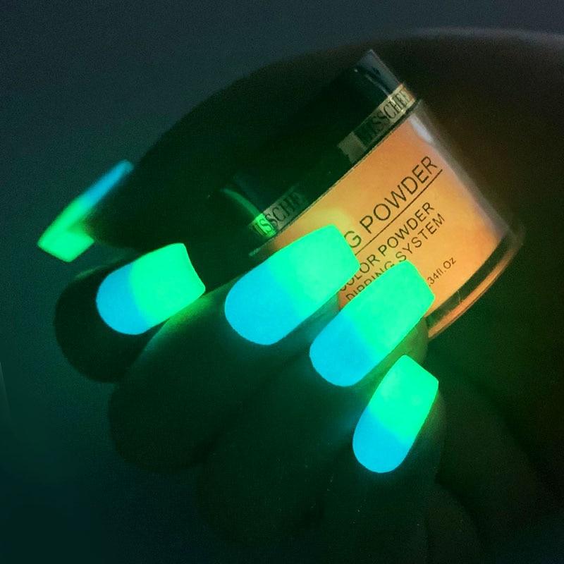 Image 5 - New 1box Neon Phosphor Dipping Powder Luminous Nail Art Decorations Fluorescent Glitter Glow Pigment Dust UV Gel Polish Design-in Nail Glitter from Beauty & Health