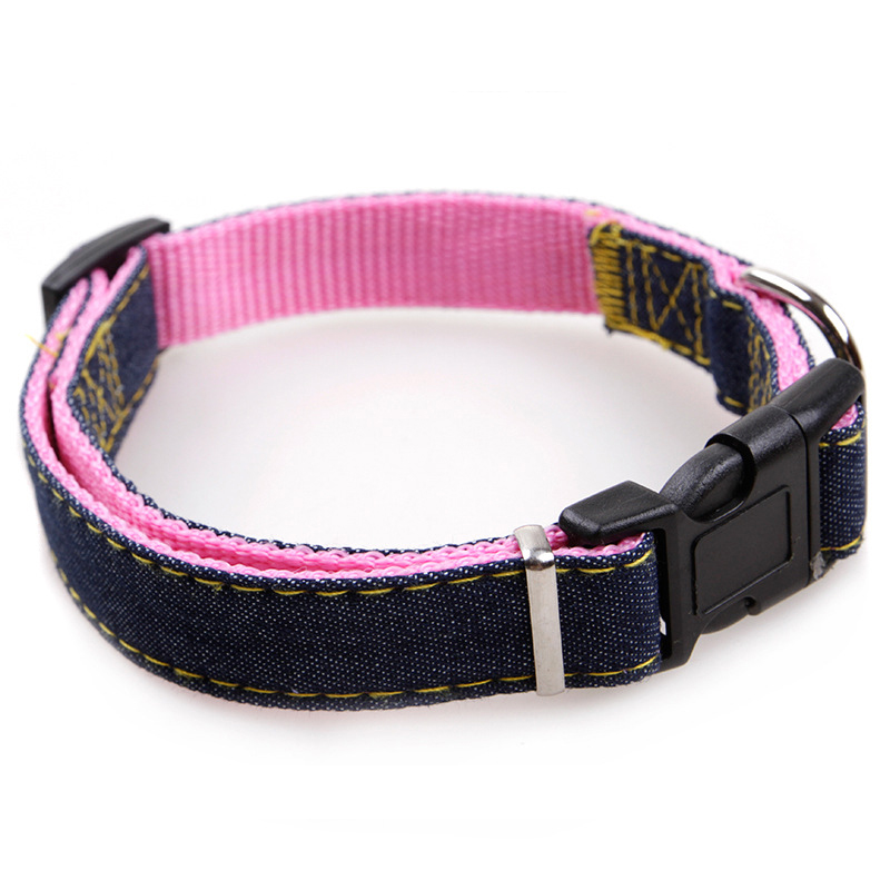 Pet Dog Cat Collar Clip Buckle Jean Collar Outdoor Sports Safety Lead Leash For Small Medium Dogs Chihuahua Cats S M L XL Strong in Collars from Home Garden