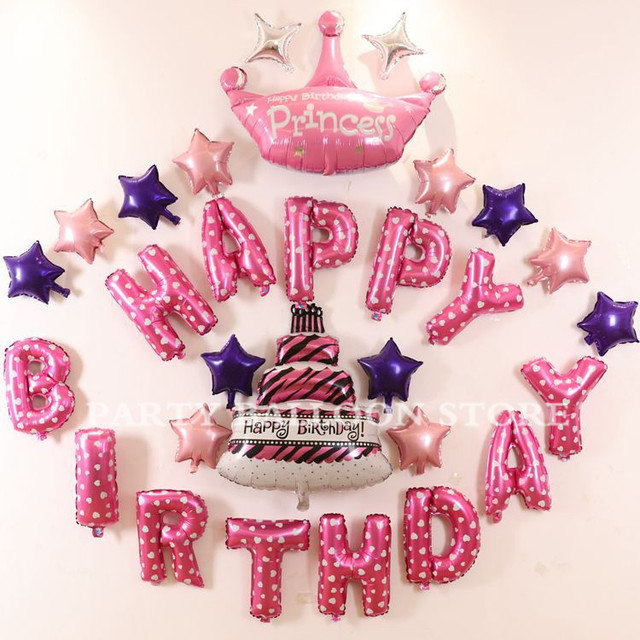 29pcsset Baby Girl Party Favor Balloons Crown Star Cake Pink Foil