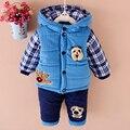 Novo 2016 meninos roupas de inverno terno Do Bebê set kis quente para baixo casaco jaqueta + calça de manga comprida conjunto de roupas de moda roupas anos