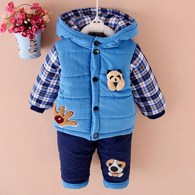 Nuevo 2016 de los Bebés de invierno traje ropa set capa caliente abajo chaqueta + pantalones de manga larga ropa kis set moda ropa 1-3years