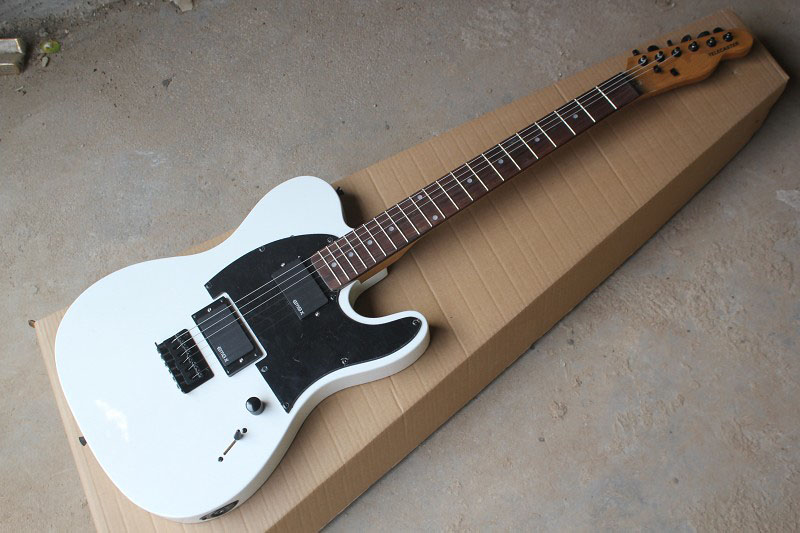 Factory musical Instruments Custom NEW Telecaster solid body EMG pickup standard white electric guitar black Pickguard 424Factory musical Instruments Custom NEW Telecaster solid body EMG pickup standard white electric guitar black Pickguard 424