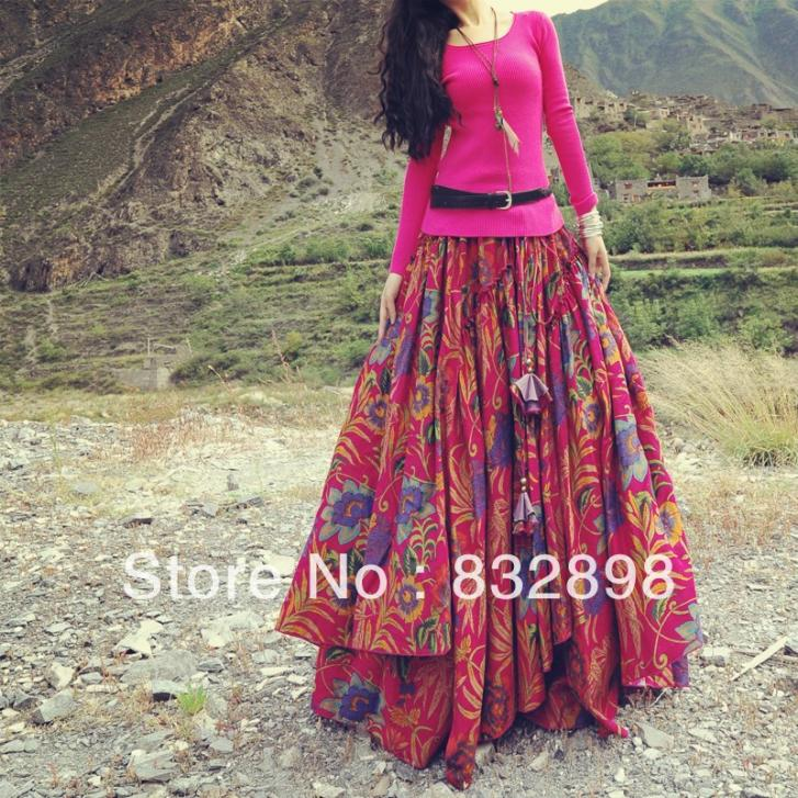 8d7834d1a Top Sale New Fashion womens Long ball gown Flowing Thick Cotton Multicolor  Print Skirts Empire Direct Selling Limited-in Skirts from Women's Clothing  on ...