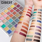 Qibest bright color shimmer eyeshadow palette sunset makeup kit 42 colors gold purple peach pigment waterproof eyeshadow QB002