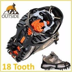 品質滑り止め 18 歯アイゼン屋外クライミング冬の散歩氷釣りスノーシューマンガン鋼スリップ靴カバー