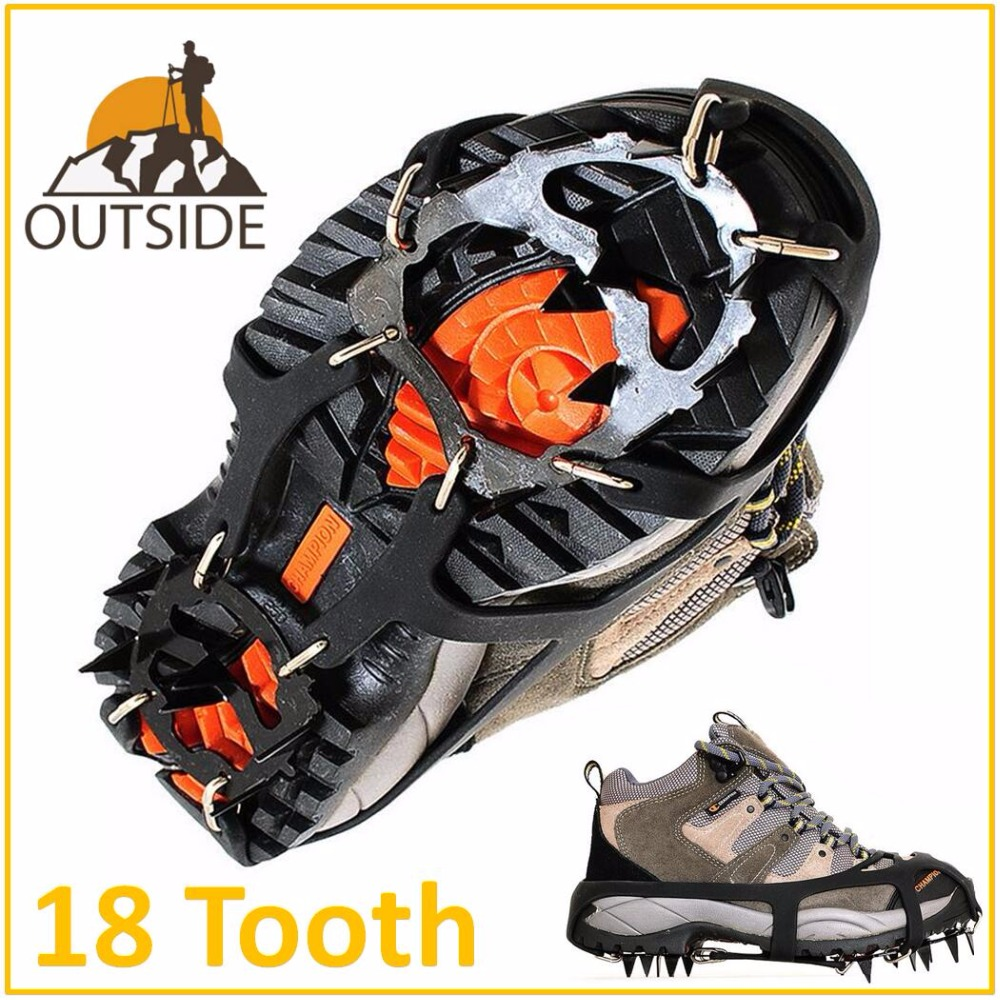 Pair Of Quality Antiskid 18 Teeth Crampons Outdoor Climbing Winter Walk Ice Fishing Snowshoes Manganese Steel Slip Shoe Covers
